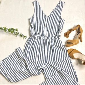 Splendid Cropped Jumpsuit NWT Blue & White Stripes